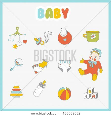Baby icons set. Cute baby things on light background.