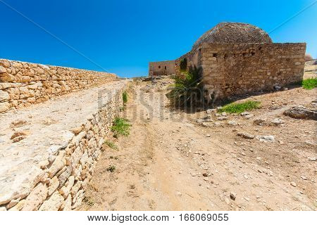 Rethymnon Island Crete Greece - June 23 2016: View on the inside part of Fortezza Castle in Rethymnon