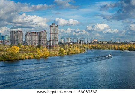Autumn on the Moscow River. Warm shades of yellow and blue colors