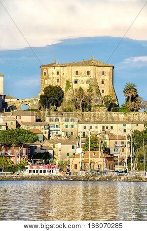 lazio village lake fortress Capodimonte italy travel