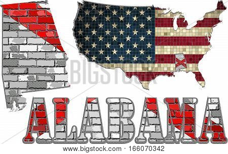 Alabama on a brick wall & USA map with effect - 3D Illustration, Alabama Flag painted on brick wall, Font with the Alabama flag,  Alabama map on a brick wall