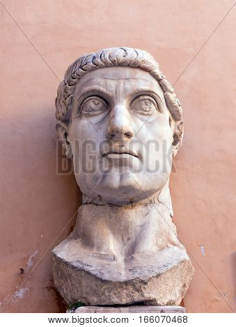 Marble head representing Roman Emperor Constantine the Great