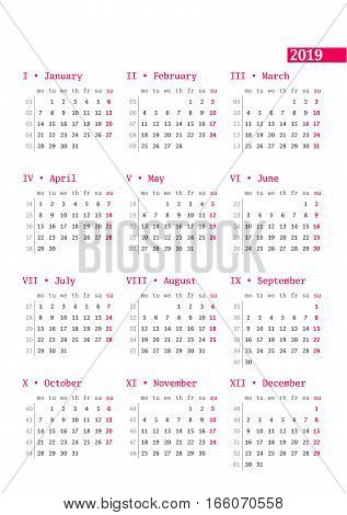 Calendar For 2019 Year With Week Numbers On White Background. Vector Design Print Template. Week Sta
