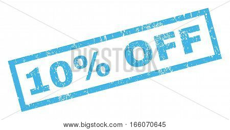 10 Percent Off text rubber seal stamp watermark. Tag inside rectangular banner with grunge design and dirty texture. Inclined vector blue ink emblem on a white background.