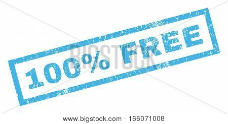 100 Percent Free text rubber seal stamp watermark. Tag inside rectangular banner with grunge design and dirty texture. Inclined vector blue ink sticker on a white background.