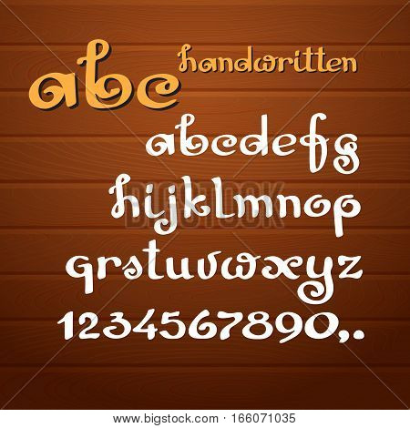 Vector  alphabet. Letters and numbers on  wooden background. Hand drawn cursive letters. Lowercase.