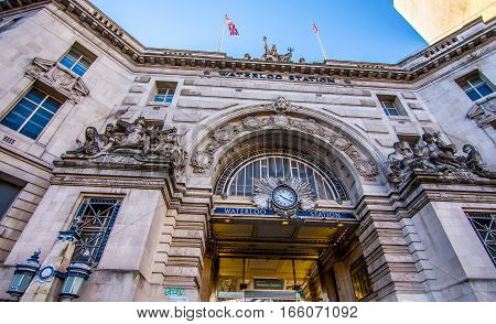 London UK - January 20 2017: Clock and statues decoradint The entrance of the waterloo train and underground station