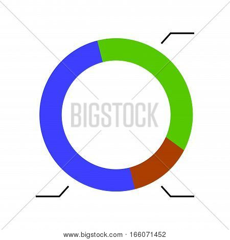 Template pie chart. Round colored business chart for presentation. Vector illustration