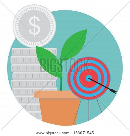 Goal achieved success icon. Stack coin and green sprout. bulls eye vector illustration