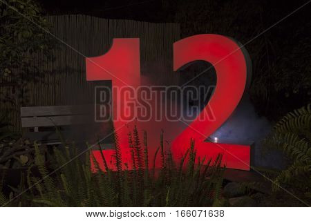 Decorative Led Light Sign With The Number 12
