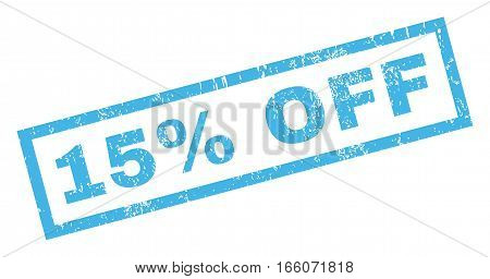 15 Percent Off text rubber seal stamp watermark. Caption inside rectangular shape with grunge design and dust texture. Inclined vector blue ink sticker on a white background.