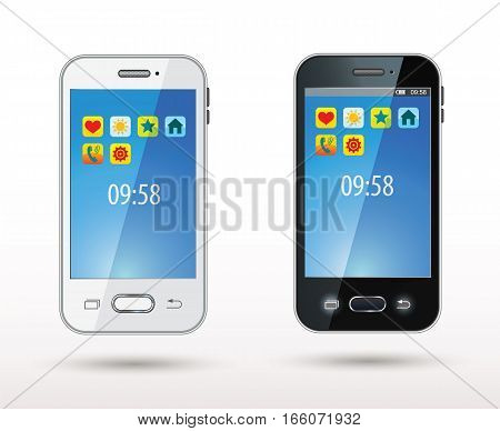 Smartphone. Realistic mobile phone with bright icons on the screen. Vector illustration. Isolated on white background. Set. Front view. Top view. Close up.