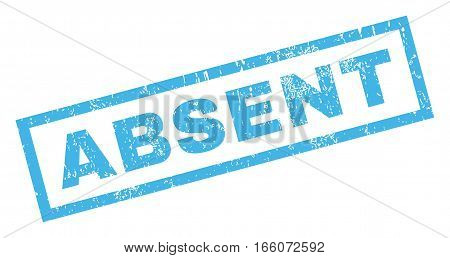 Absent text rubber seal stamp watermark. Caption inside rectangular banner with grunge design and dust texture. Inclined vector blue ink emblem on a white background.