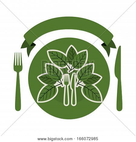 silhouette of dish with leaves and silverware and ribbon vector illustration