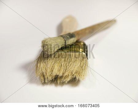 The paint brushesThe paint brushes on a white background on a white background closeup