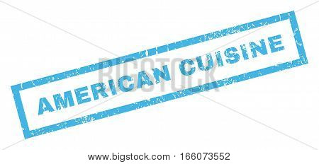 American Cuisine text rubber seal stamp watermark. Tag inside rectangular shape with grunge design and scratched texture. Inclined vector blue ink sticker on a white background.