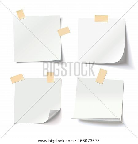 Collection of various white note papers with curled corner and adhesive tape, ready for your message. Vector illustration. Isolated on white background. Front view. Close up.