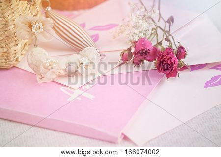 dry roses flower and vintage things. romantic style