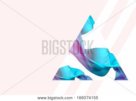 Abstract 3D Render Illustration. Flying Silk Fabric Wave Waving Satin. Blue Pink and Pastel Beige Colors.