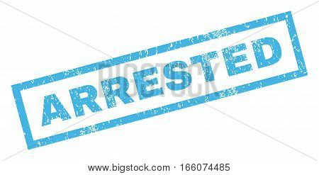 Arrested text rubber seal stamp watermark. Caption inside rectangular banner with grunge design and scratched texture. Inclined vector blue ink emblem on a white background.