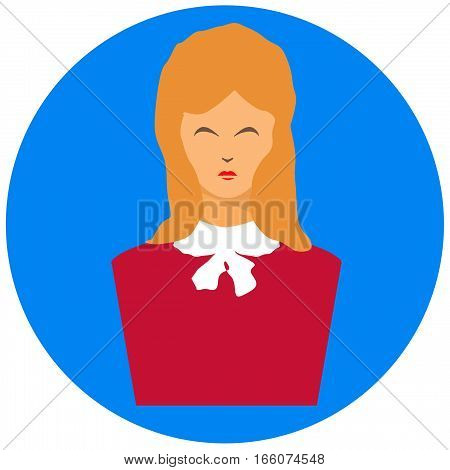 user icon, woman on a blue background