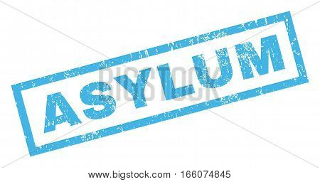 Asylum text rubber seal stamp watermark. Tag inside rectangular shape with grunge design and scratched texture. Inclined vector blue ink emblem on a white background.