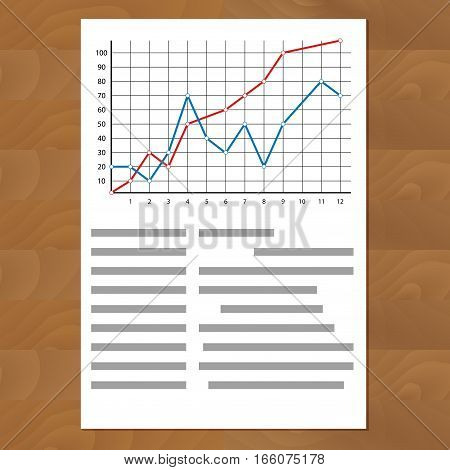 Statistics comparing graph curves. Document paper with color line annual timeline profit info vector illustration