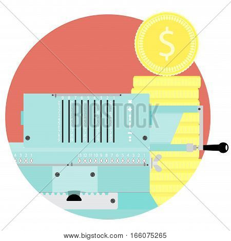 Count money flat icon vector. Adding machine and stock golden coin illustration. Audit and inspection budget or capital