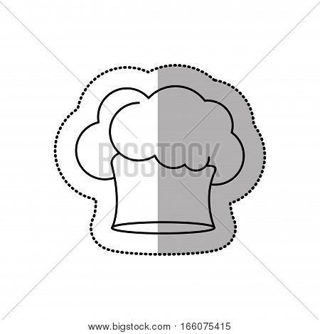 silhouette dotted sticker of chefs hat with medium shade in cumulus shape vector illustration