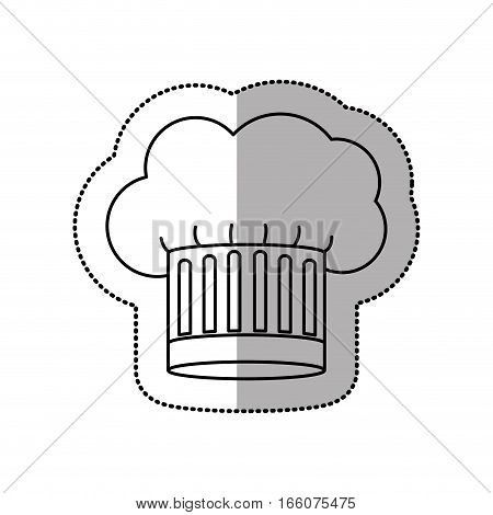 silhouette dotted sticker of chefs hat with medium shade with cumulus shape and striped vector illustration