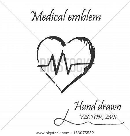 Medical heartbeat icon. This icon drawn with a pencil. poster