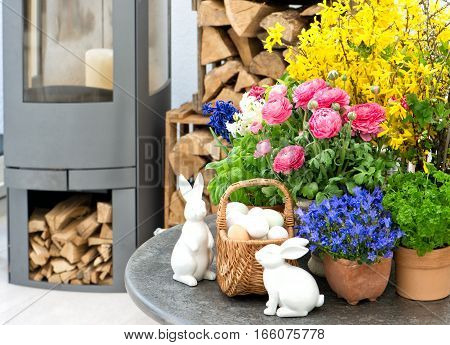 Easter decoration. Home interior with spring flowers