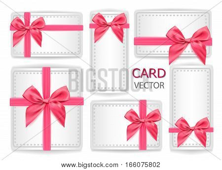 Vector set of holiday present gift packaging . pink silk ribbon with bow-knot .Sign of happiness .Web design element advertisement poster print wedding birthday congratulation card decoration object.