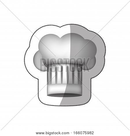 realistic silhouette sticker of chefs hat in cumulus shape and stripeds