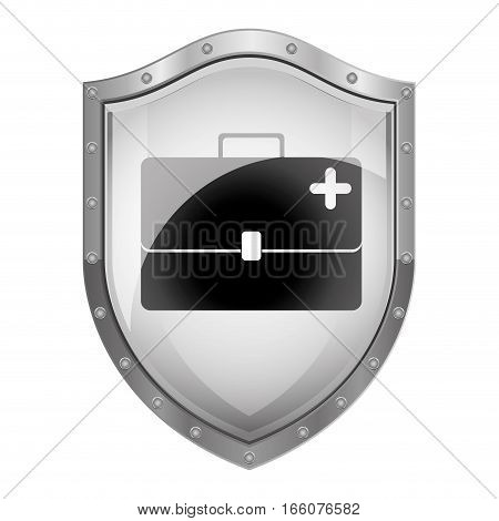 metallic shield with bag first aid kit vector illustration