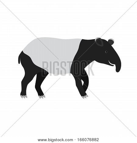 Happy black tapir. Isolated on a white background. vector illustration