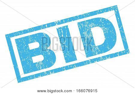 Bid text rubber seal stamp watermark. Tag inside rectangular shape with grunge design and dirty texture. Inclined vector blue ink sticker on a white background.