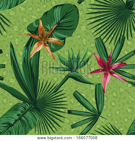 composition of tropical plants and flowers in a green style. Beautiful print panther fur background seamless wallpaper