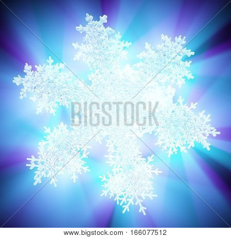 Icy snowflake color light abstract 3d illustration square