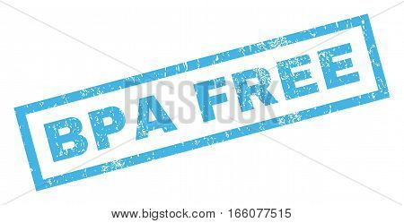 Bpa Free text rubber seal stamp watermark. Tag inside rectangular banner with grunge design and dust texture. Inclined vector blue ink emblem on a white background.