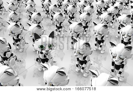 Robotic kittens many idle one awake 3d illustration horizontal