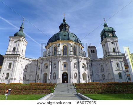 Stunning Ettal Abbey church facade, Kloster Etta, Garmisch-partenkirchen, Bavaria, Germany