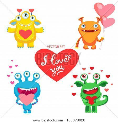 Vector Set With Cute Love Monsters. Vector Card For Saint Valentine's Day. Emotions Of Falling In Love