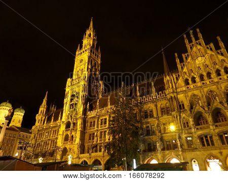 The Beautiful Night View of Munich New Town Hall at Marienplatz Square, Munich, Bavaria, Germany