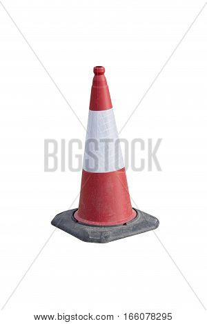 Reflective traffic cone isolated on white background