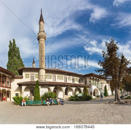 BAKHCHISARAY REPUBLIC of CRIMEA RUSSIA - SEPTEMBER 13.2016: Big Palace mosque on the territory of the former residence of Crimean khans - Khan's Palace in Bakhchisarai.