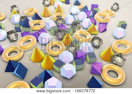 Background with different 3D geometrical shapes, 3D illustration