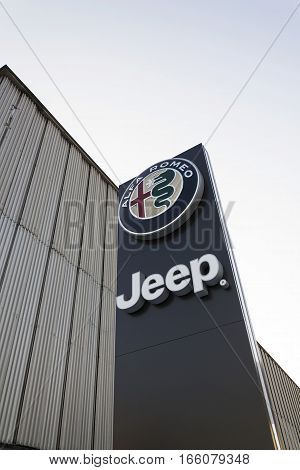 Prague, Czech Republic - January 20: Jeep And Alfa Romeo Car Logo On Dealership Building On January