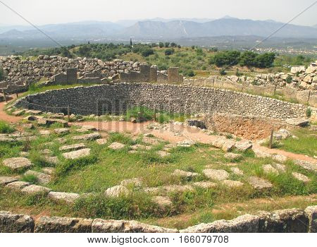The grave circle of Mycenae, Archaeological site in Peloponnese peninsula of Greece