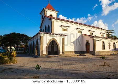 Dili East Timor Jul 30 : The Church de São António de Motael is the oldest Roman Catholic church in East Timor. It was rebuilt in 1955 in the old Portuguese style.